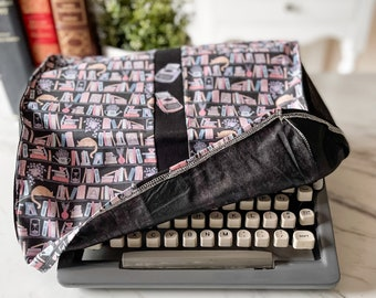 """Portable Vintage Typewriter Cover   Whimsical Library pattern   13"""" wide X 11.5"""" deep X 6"""" tall   Handmade"""