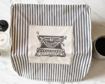 """Portable Vintage Typewriter Cover   Blue White Stripe with Corona 3 Patch   12.25"""" wide X 11"""" deep X 6"""" tall   Handmade"""