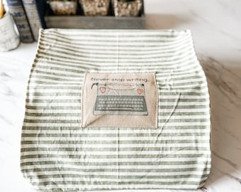 Low Profile Typewriter Cover   Never Stop Writing Patch   Green striped fabric   Fits low-profile, ultra portable, travel typewriters