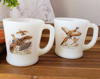 2fe493c0943 Fire King milkglass coffee mugs with birds, FireKing milk glass coffee cups  with pheasant and grouse, gift for hunter, collectible