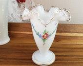 Handpainted Fenton Silver Crest milk glass vase, gold detail, roses, ruffle white to clear rim, collectible milkglass, wedding shower decor