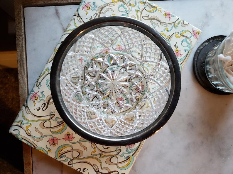vanity cut glass server candy dish dish office accessory nut dish Crystal bowl with silver rim bath