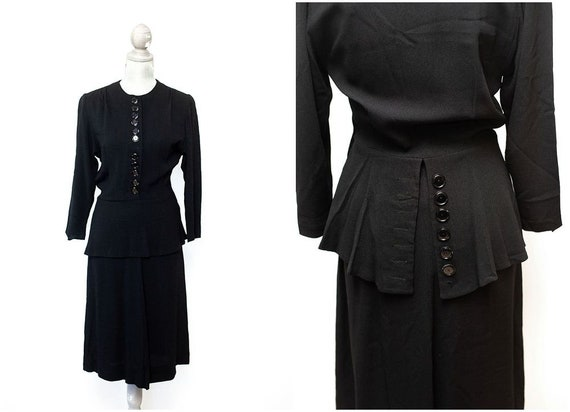 Vintage 1930s 1940s Black Crepe Peplum Dress