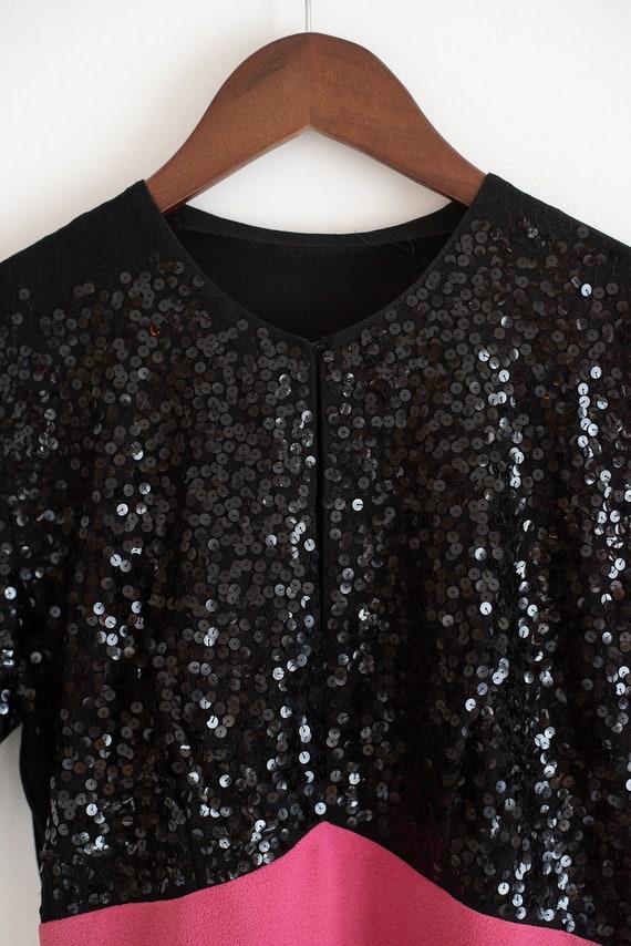 Vintage 30s 40s Sequin Crepe Black Dress - image 4