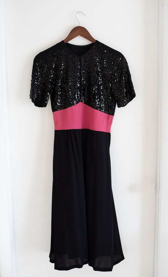 Vintage 30s 40s Sequin Crepe Black Dress