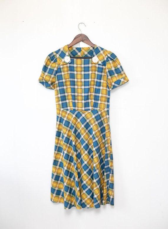 Vintage 1930's Cotton Plaid Dress