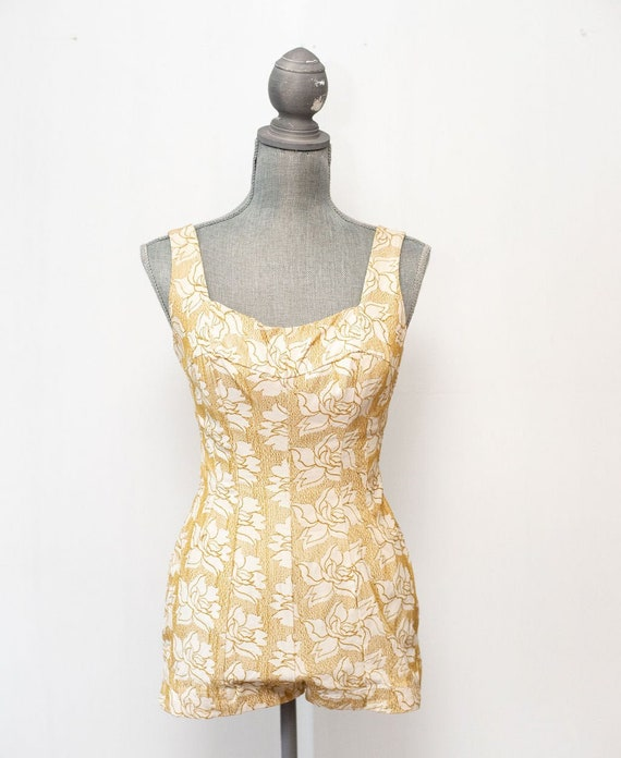 Vintage 1950's Jantzen Gold Swimsuit Bathing Suit