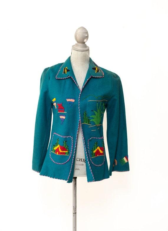Vintage 1940's Mexican Wool Souvenir Jacket Embroi