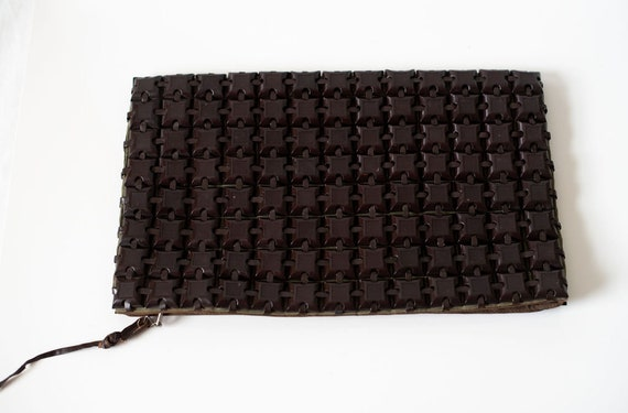 Vintage 1940's Plasticflex Clutch Brown LARGE
