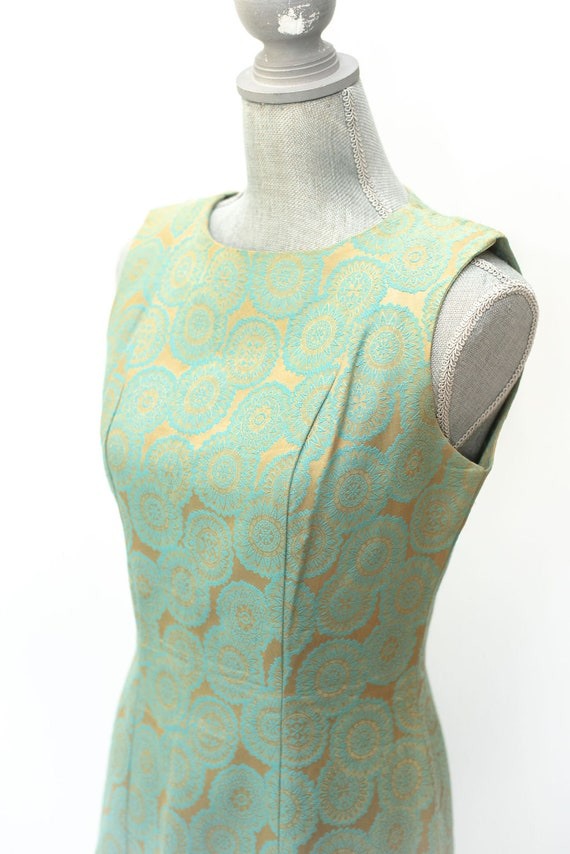 Vintage 1950's Brocade Dress Green and Gold