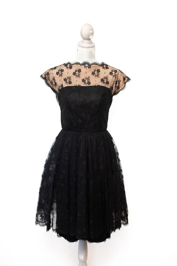 Vintage 1950's ESTEVEZ Black Dress Cocktail Dress