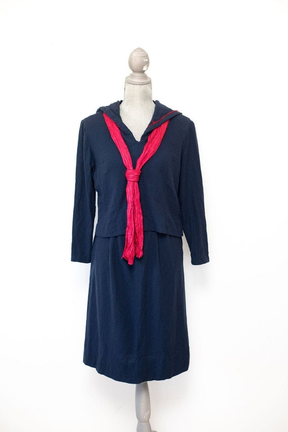 Vintage 1930's 1940's Wool Sailor Suit Skirt Set