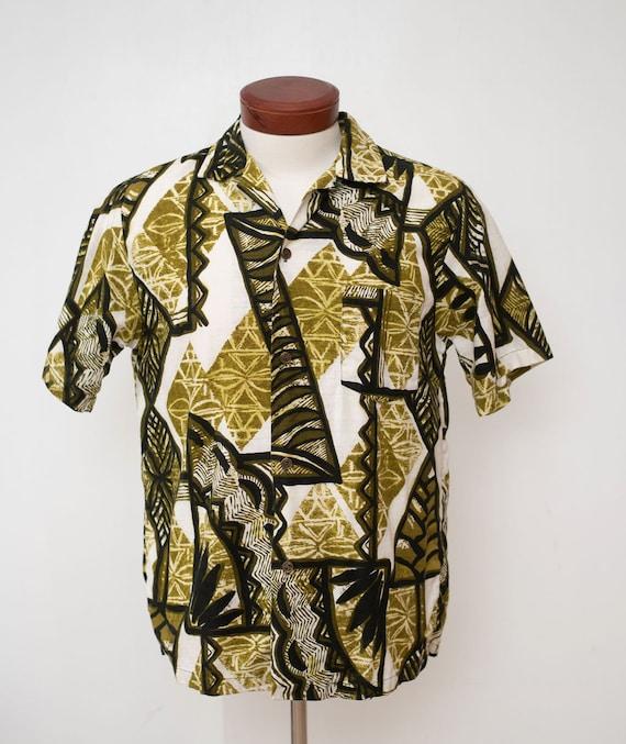 Vintage 1950's Hawaiiana Aloha Shirt Bark Cloth