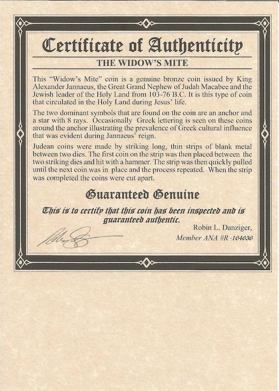 ANCIENT Widow's Mite Coin of King Janeaus Bronze Lepton,Album,Story /& Certif