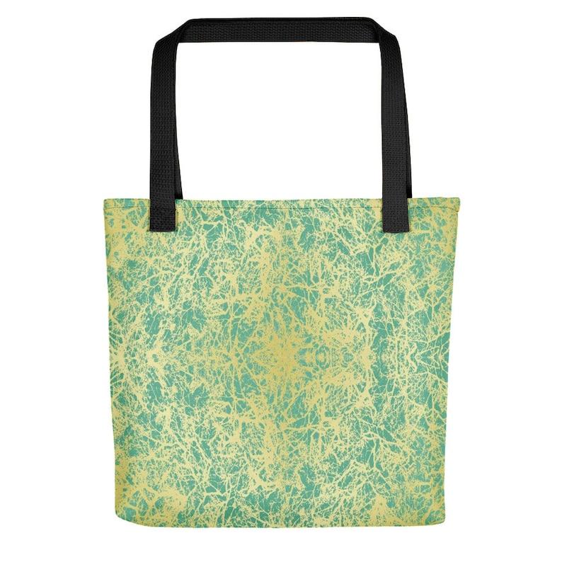Gold Veined Turquoise Stylish Tote Bag