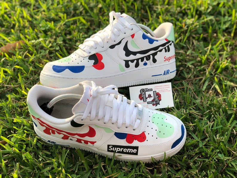 62b450a54 Camo X Supreme Nike Air Force Ones Custom shoes | Etsy