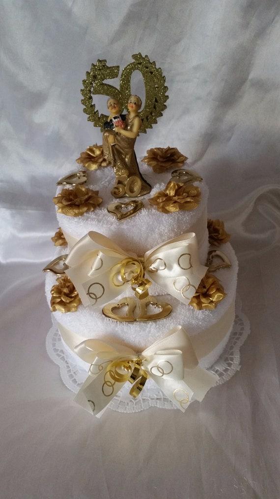 Goldene Hochzeit Handtuchtorte Brautpaar