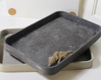 Concrete tray, black concrete tray, bathroom tray, decoration, jewellery shelf, individual use, kitchen utensil