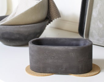 Storage made of concrete, soot wart, oval storage made of black concrete, bathroom decoration, jewelry shelf, individually usable