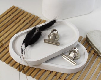 Concrete, concrete tray, white, jewelry tray, decorative tray, oval tray, pretty concrete gift, plain white, individual