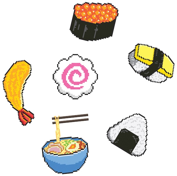 Set Of 6 Japanese Food Tattoos Pixel Art Tattoo Quirky Small Gift Ideas