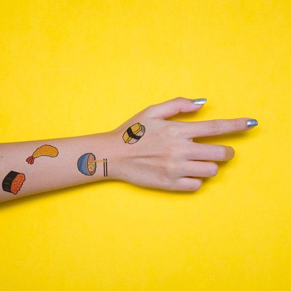 Set De 6 Tatouages De Nourriture Japonaise Pixel Art Tattoo Excentrique Petites Idées Cadeaux