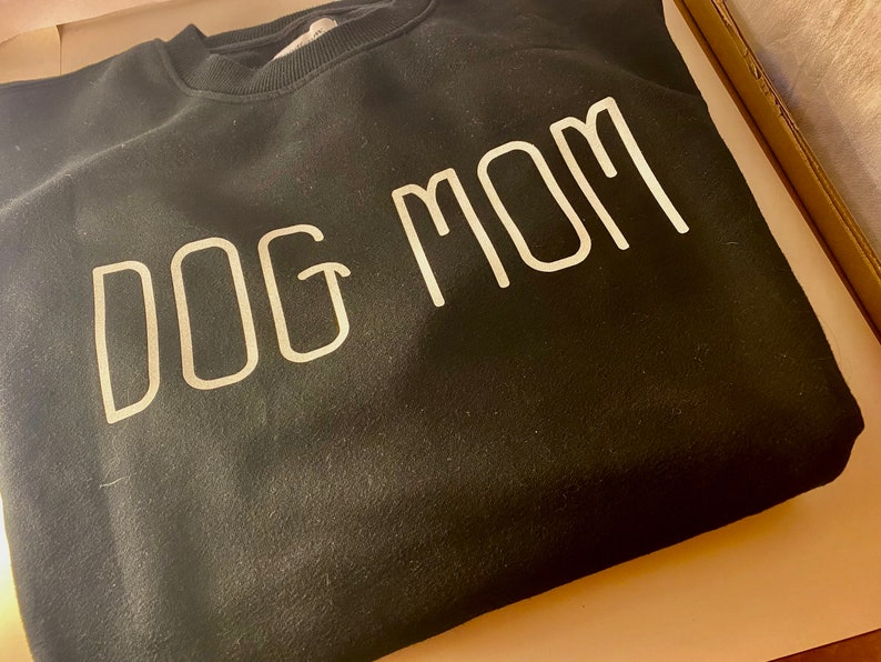 Glitter writing. Minimalist  dog mom Dog Mom Sweatshirt