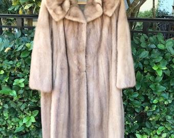Vintage Blonde Mink Fur Coat Honey Blonde Mink Mid Length Coat
