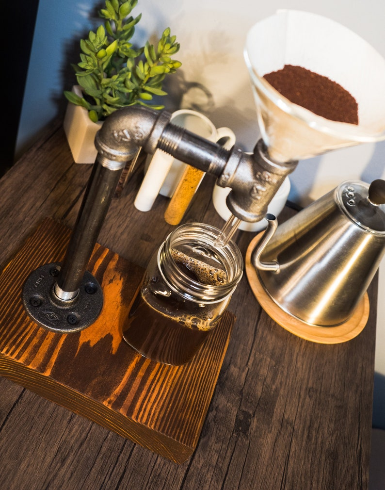 Modern Glass Funnel Coffee System Coffee Gift Industrial Coffee Maker Iron Pipe Coffee Pour Over Farmhouse Coffee Maker Custom Monogram
