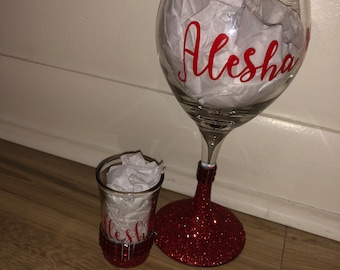 267111184219 Glitter and Bling Wine Glass and Shot Glass Set Personalized