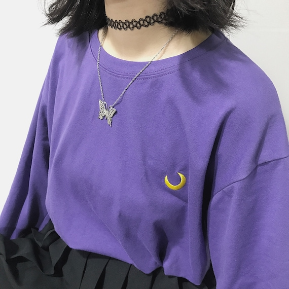 K Pop Purple Sweatshirts   Moon Embroidery Sweater, Harajuku Style, Moon Phrase Sweater, Magical Girl, Gothic, Patel Goth, Witchy, Astrology by Etsy