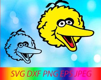SVG ELMO Collection Big Bird Face Vector Layered Cut File Silhouette Cameo Cricut Design Template Stencil Vinyl Decal Tshirt Heat Transfer