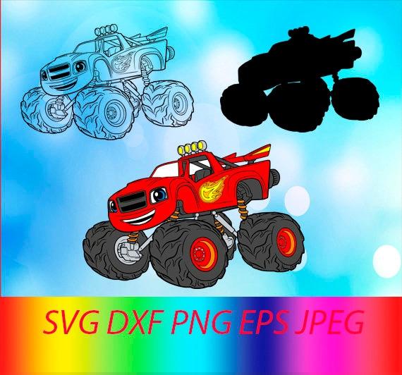 SVG Blaze Monster Machines à vecteur couches fichier coupe Silhouette Cameo Cricut Design modèle pochoir vinyle autocollant Tshirt chaleur transfert