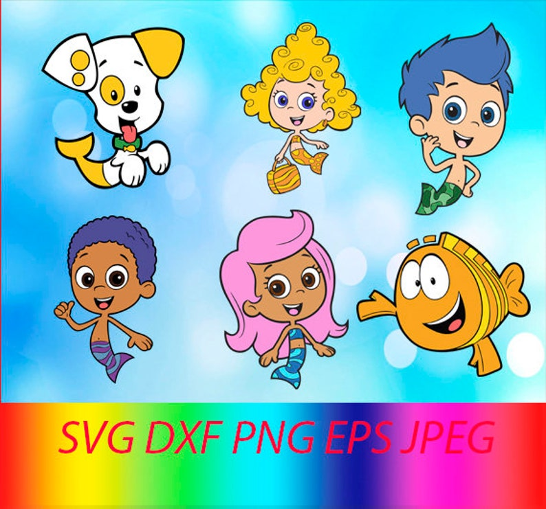 SVG Bubble Guppies Collection Vector Layered Cut File Silhouette Cameo Cricut Design Template Stencil Vinyl Decal Tshirt Heat Transfer Iron