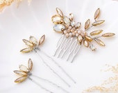 Bride Crystal Wedding Hair Comb with Bridal Leaves Hair Pins Wedding Hair Accessories Hair Piece for Women