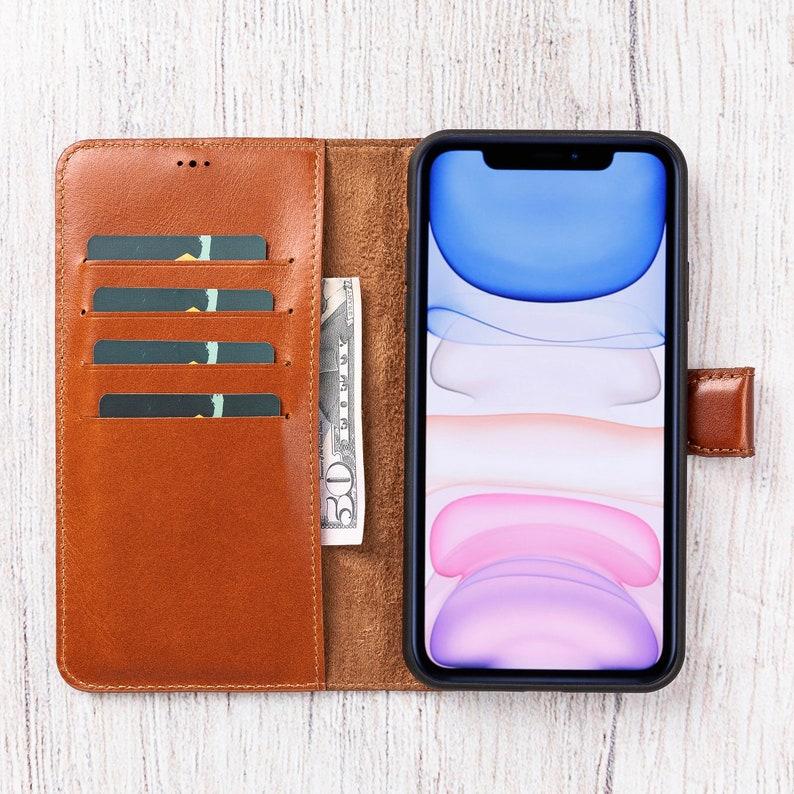 Personalized Best Phone Case for iPhone 11 Pro Max 6.5 iPhone 11 Pro Max Leather Wallet Handmade Bifold Wallet  BURNISHED BROWN