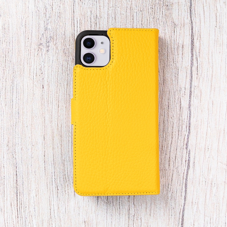 Personalized Wallet Magnetic Detachable Back Cover Supports Wireless Charge  YELLOW Best Phone Case iPhone 11 6.1 Leather Case