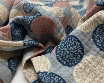 Double Gauze Cotton Musselin Muslin Gauze Cloth beige blue