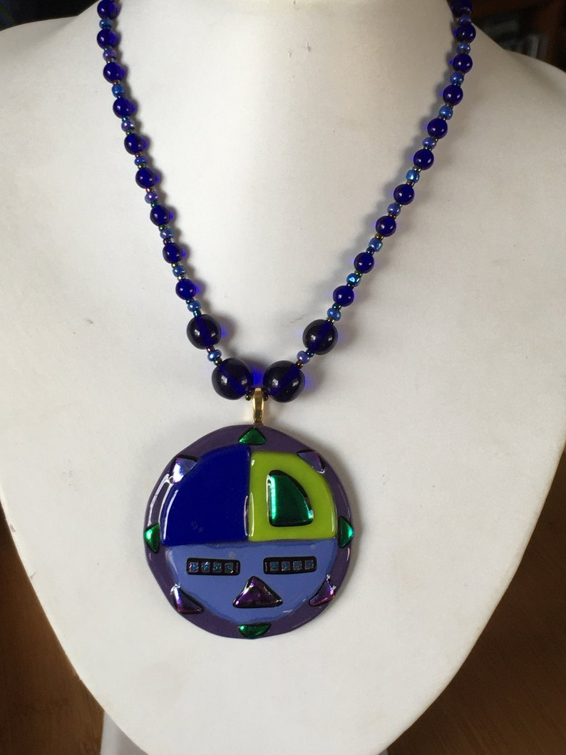 Fused Glass Pendant on Glass Beaded Necklace Signed Piece