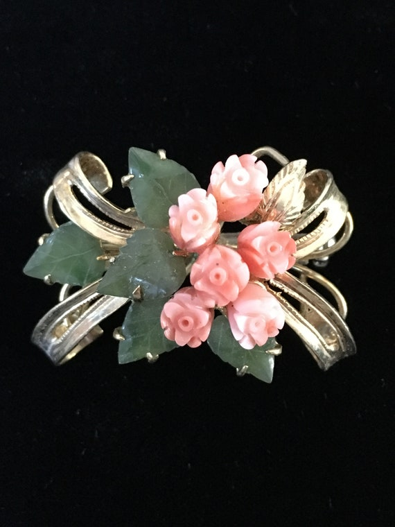 Vintage Goldtone & Jade Brooch, Floral Brooch, Car