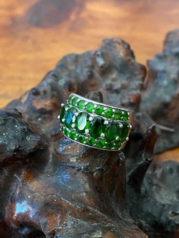 Sterling Silver Emerald Fashion Ring, Emerald Gree