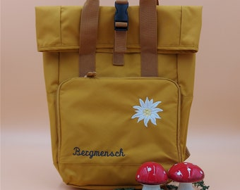 Backpack Edelweiss Bergmensch personalized Backpack Roll-Top
