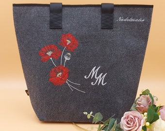 Shopper poppy personalized felt embroidered bag