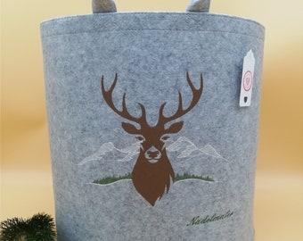 NEW personalized felt basket wooden basket deer large light gray embroidered