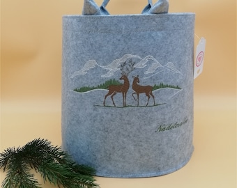 NEW personalized felt basket wooden basket 2 deer/roe deer small light grey embroidered