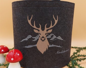 NEWLY personalized felt basket wooden basket deer small dark gray embroidered
