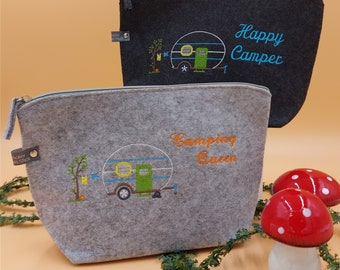 Cosmetic bag Caravan personalized felt toiletry bag embroidered Happy Camping Queen