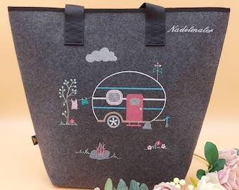 Shopper Camping Personalized Felt Embroidered Caravan Camper Motorhome Bag