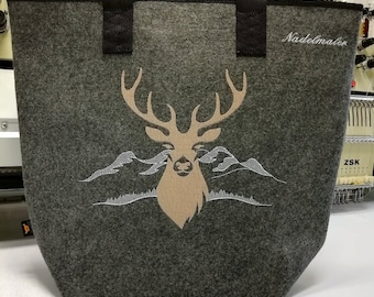 Shopper Deer Personalized Embroidered Felt Mountains Alps Bag