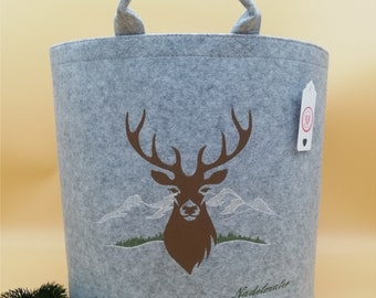 NEW personalized felt basket wooden basket deer small light gray embroidered